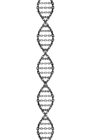 Metal chain forming a twisting dna strand isolated on a white background