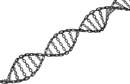 Metal chain forming a twisting dna strand isolated on a white background  photo