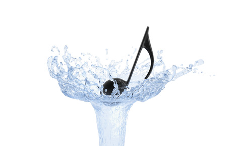 Musical note floating on water jet isolated on white background