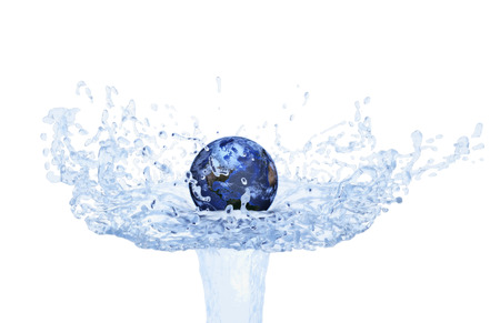 water splash isolated on white background: Globe floating on water jet isolated on white background  - Elements of this image furnished by NASA
