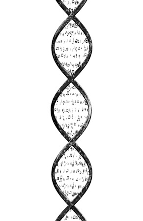 Strand of DNA made up of musical notes in front of a white background.