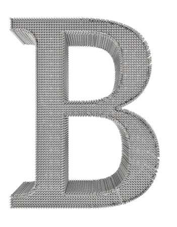 Graphical chain mesh metal lettering isolated on white background. photo