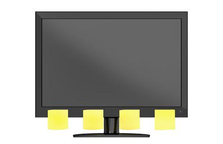 Strakke moderne computer monitor met aantekeningen in de voorkant van een witte achtergrond.