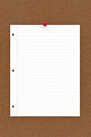 paper pin: Blank note paper pinned to cork board.