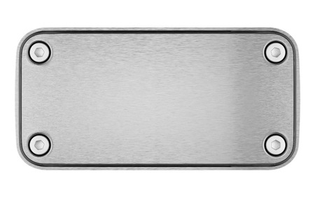 Blank metal steel plate with hexagonal bolts isolated on a white background.