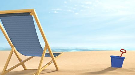 快適な折りたたみ椅子、バケツとシャベルとリモートのリラックスしたビーチのシーン。
