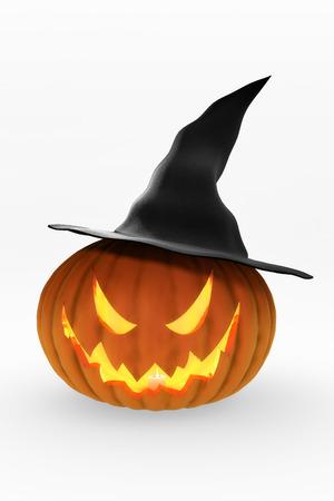 jackolantern: Glowing Jack-O-Lantern  and witch Stock Photo