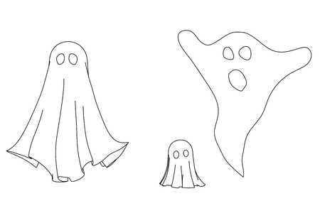 Three different ghostly silhouette outlines isolated on a white background.
