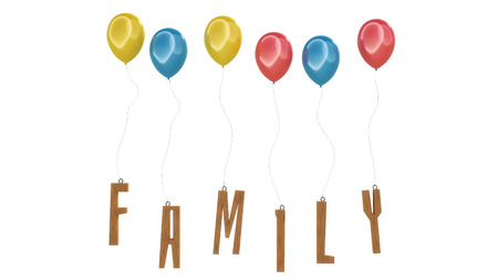 Floating colorful balloons with wood carved family letters. Stock Photo