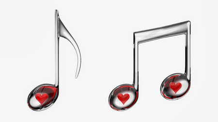 embedded: Red hearts embedded in glass musical notes isolated on a white background.