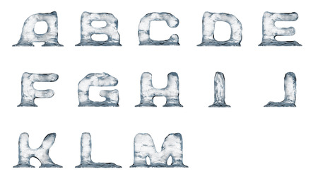 Melting ice text elements isolated on a white background. Zdjęcie Seryjne