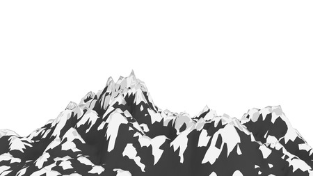 Dramatic snowy mountain peak illustration.
