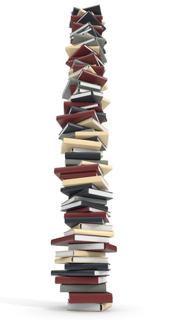 noname: Towering stack of books isolated on white background.