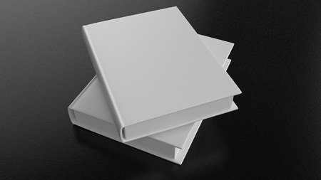 Two blank books on a rough dark surface. Stock Photo