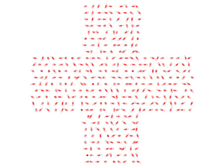 Translucent red and clear pills in the shape of a cross medical symbol isolated on white background.