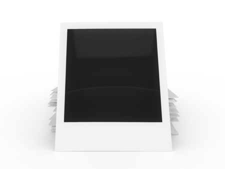 Blank instant photo stack isolated on a white background. Banco de Imagens