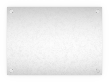 plaque: Blank textured metal rectangle sign plaque isolated on a white background.
