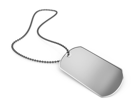 Blank metal dog tag isolated on a white background.