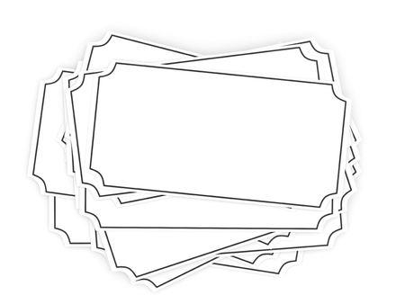 Several blank white tags in a pile isolated on a white background. Banco de Imagens