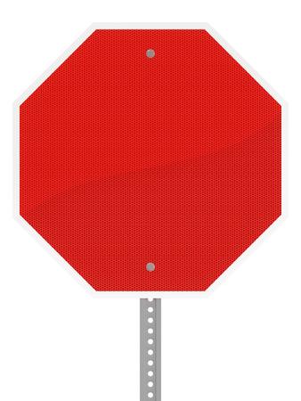 광택 빨간색 육각형 정지 신호 흰색 배경에 고립.