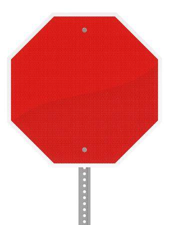 Glossy red hexagon stop sign isolated on a white background.