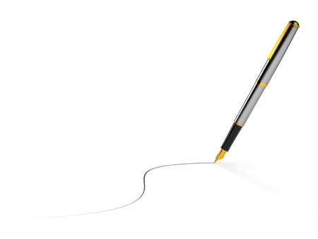 high end: High end pen drawing blue ink line isolated on white background.