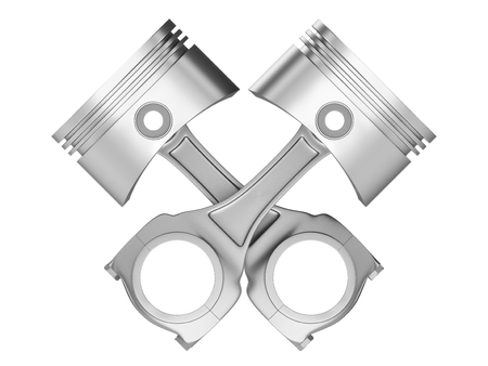 Two crossed engine pistons isolated on a white background.