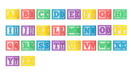 Complete angled ABC letter block alphabet isolated on a white background.