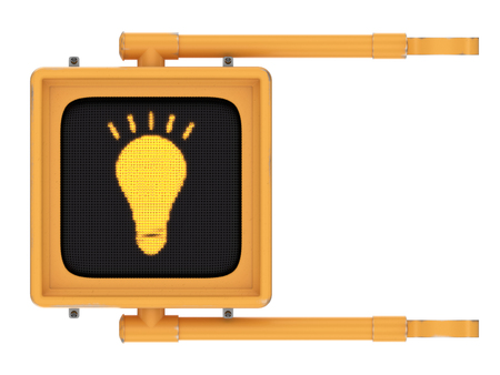 Yellow lightly worn street crossing sign with glowing lightbulb idea symbol isolated on a white background. Banco de Imagens