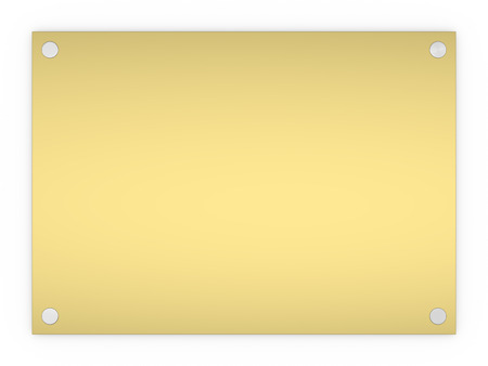 plaque: Blank gold rectangle sign plaque isolated on a white background.