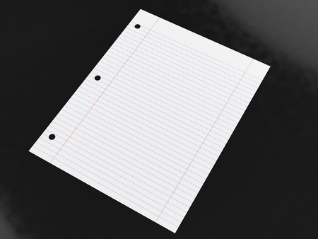 Blank lined paper on a glossy black surface