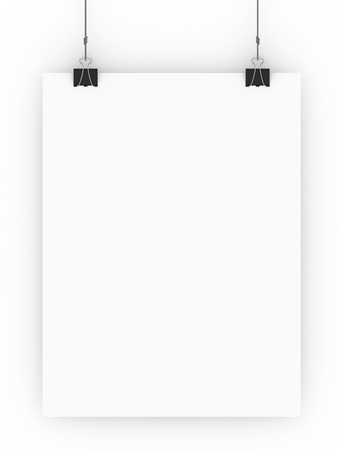 Blank paper hanging from clamps isolated on a white background. Banco de Imagens