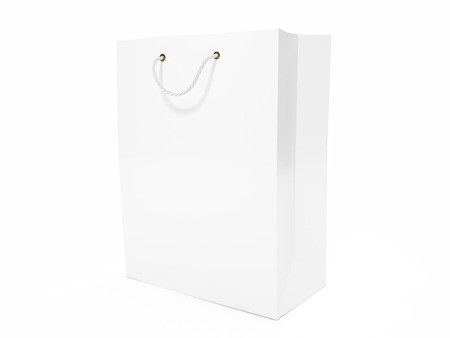 Blank white shopping bag isolated on a white background. Banco de Imagens