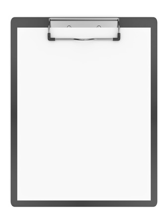 Blank clipboard and paper isolated on a white background.