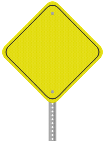 Yellow reflective caution road sign isolated on a white background.