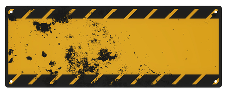 Blank grungy black and yellow caution sign isolated on a white background.