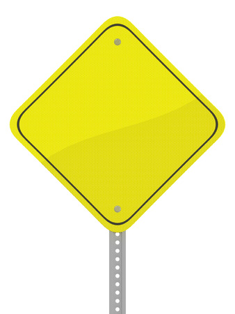 reflective: Glossy yellow reflective caution road sign isolated on a white background. Stock Photo