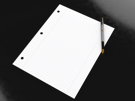 high end: Blank lined paper and high end pen on glossy black surface Stock Photo