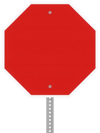 빨간색 반사 육각형 정지 신호 흰색 배경에 고립.