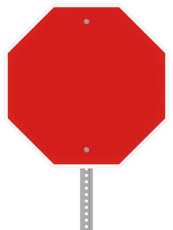 Red reflective hexagon stop sign isolated on a white background.