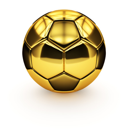 Isolated golden soccer ball on a white background.