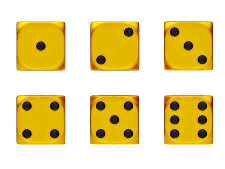 Set of golden dice isolated on a white background.