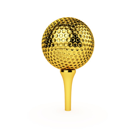 Isolated golden golf ball and tee on a white background. Banco de Imagens - 57244361