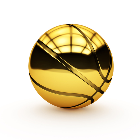 Isolated golden basketball on a white background.