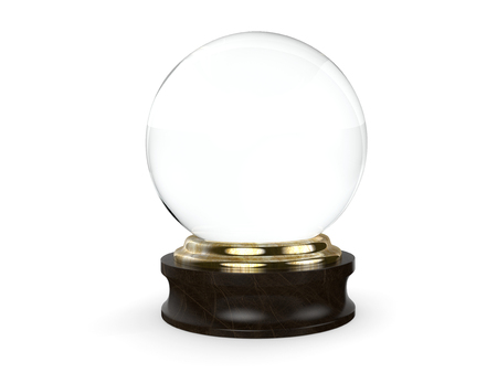 Clear Crystal ball with a wooden base isolated on a white background. Banco de Imagens - 57244381