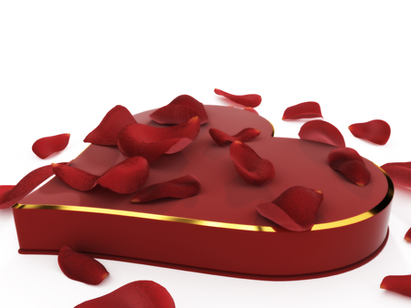 Heart shaped box of chocolates and rose petals isolated on a white background. Banco de Imagens - 57296165