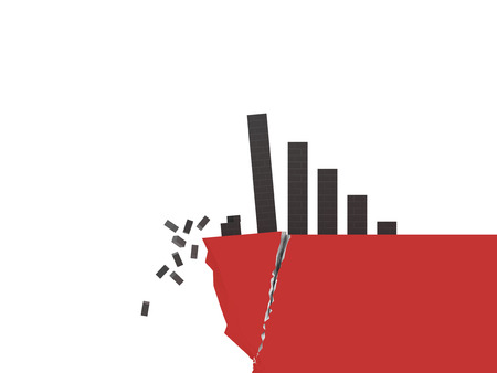 Brick styled graph falling off a fractured cliff isolated on a white background.