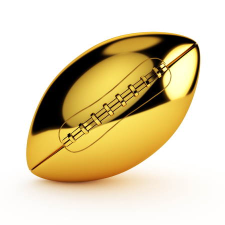 Isolated golden football isolated on a white background.