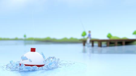 Bobber positional view of a spring/summer dock fishing scene. Banco de Imagens