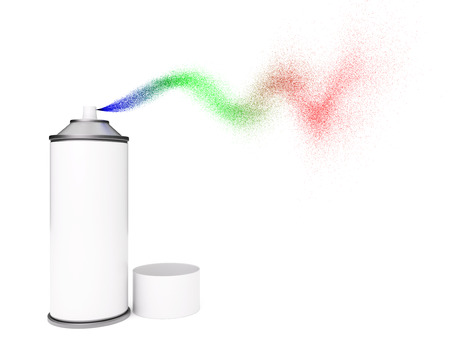 Blank spray paint can with multi-colored spray isolated on white background Zdjęcie Seryjne